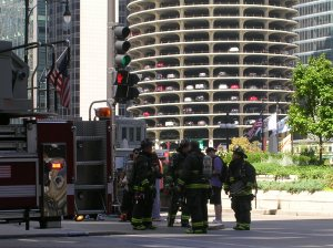 Chicago Firemen with Marina Towers in the background